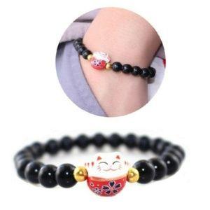 NWT Japanese-Style Lucky Cat Obsidian Bracelet